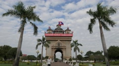 Tourist making photo of Patuxai monument,Vientiane,Laos Stock Footage