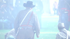 Civil War soldiers on a smokey battlefield Stock Footage