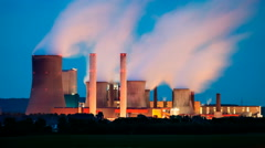 Power Station At Night Stock Footage