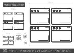 Multiple webpage line icon Stock Illustration