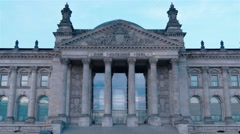 The German Parliament and the Deutche Bundestag in Berlin at evening time. Stock Footage