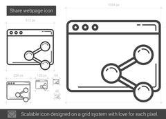 Share webpage line icon Stock Illustration