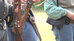 Union soldiers loading weapons Stock Footage
