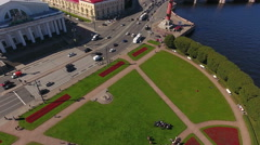 Road traffic is in the Spit of Vasilyevsky island. St. Petersburg, Russia Stock Footage