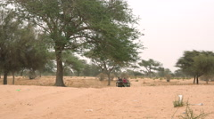 Heat African savanna landscape - a cart in the background Stock Footage