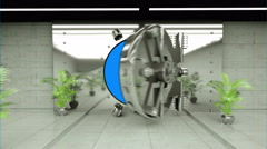 Opening Of The Vault Door In Bank. Realistic interior. fly camera. Green screen Stock Footage