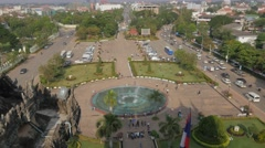 Patuxai park and fountain from above,Vientiane,Laos Stock Footage
