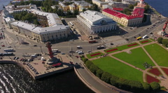 Kunstkamera building and the Old Saint Petersburg stock Exchange, St. Petersburg Stock Footage