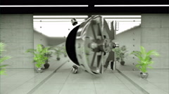 Opening Of The Vault Door In Bank. Realistic interior. fly camera.  Stock Footage