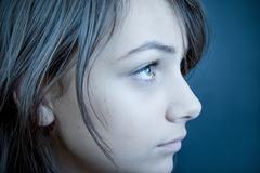 Sad Teen Profile Stock Photos
