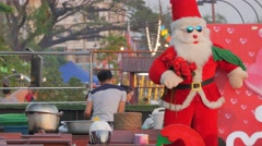 Santa claus street restaurant decoration,Vientiane,Laos Stock Footage