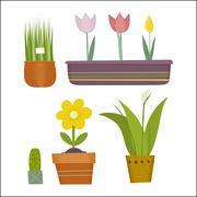 Pot plants set Stock Illustration