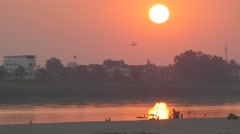 Sunset at Mekong riverfront,Vientiane,Laos Stock Footage