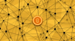 Footage concept of bitcoin, new money and polygonal rotation background. video Stock Footage