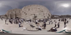Praying at the Western Wall, Jerusalem, Israel 360 video panorama for VR apps Stock Footage