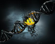 Concept of biochemistry with collapse dna molecule on blue background Stock Illustration