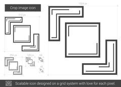 Crop image line icon Stock Illustration