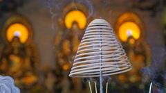 Spiral incense cone burning,Vientiane,Laos Stock Footage