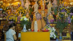Priest at service in vietnamese temple,Vientiane,Laos Stock Footage