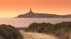 Lighthouse on Sardinia. UHD footage. Stock Footage