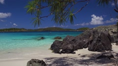 Panning video of Turtle Bay, Caneel Bay with audio, St John Stock Footage