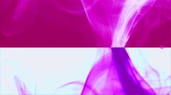 Wave of pinky smoke on pink & white horizontal splited background 3 Stock Footage