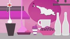 Georgia - Vector Menu - Restaurant - Food and Drinks - pink Stock Footage