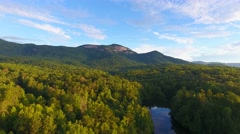 4k epic cinematic aerial of Table Rock State Park in South Carolina at sunrise Stock Footage