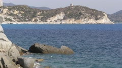Rocky coastline on Cape Testa in Sardinia Stock Footage