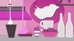 Hungary - Vector Menu - Restaurant - Food and Drinks - pink Stock Footage