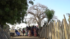 Poor African village scene - Serer local ethnic group in Senegal Stock Footage