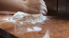 Girl pours the flour to make a cake Stock Footage
