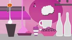 Macedonia - Vector Menu - Restaurant - Food and Drinks - pink Stock Footage