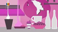 Moldova - Vector Menu - Restaurant - Food and Drinks - pink Stock Footage