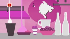 Montenegro - Vector Menu - Restaurant - Food and Drinks - pink Stock Footage