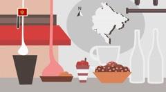 Montenegro - Vector Menu - Restaurant - Food and Drinks - red Stock Footage