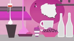 Poland - Vector Menu - Restaurant - Food and Drinks - pink Stock Footage