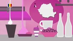 Romania - Vector Menu - Restaurant - Food and Drinks - pink Stock Footage