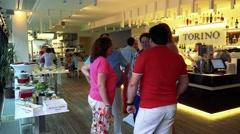 People talk together in restaurant - celebration event Stock Footage