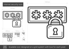 Internet security line icon Stock Illustration