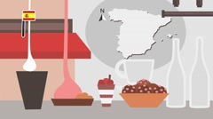 Spain - Vector Menu - Restaurant - Food and Drinks - red Stock Footage