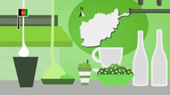 Afghanistan - Vector Menu - Restaurant - Food and Drinks - green Stock Footage
