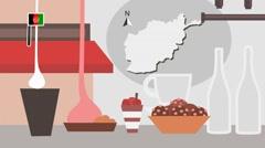 Afghanistan - Vector Menu - Restaurant - Food and Drinks - red Stock Footage