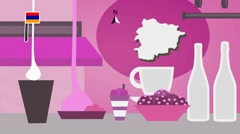 Andorra - Vector Menu - Restaurant - Food and Drinks - pink Stock Footage