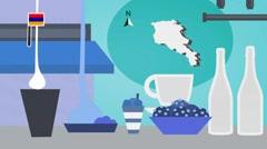 Armenia - Vector Menu - Restaurant - Food and Drinks - blue Stock Footage