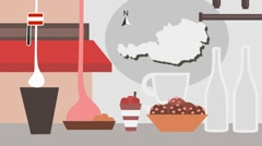 Austria - Vector Menu - Restaurant - Food and Drinks - red Stock Footage
