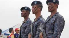 Soldiers with painted face guarding at air show,Ubon Ratchathani,Thailand Stock Footage