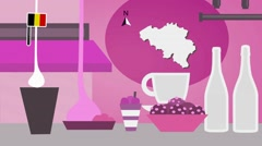 Belgium - Vector Menu - Restaurant - Food and Drinks - pink Stock Footage