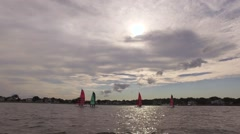 Many Sailing boats at the ocean Stock Footage