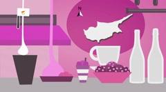 Cyprus - Vector Menu - Restaurant - Food and Drinks - pink Stock Footage